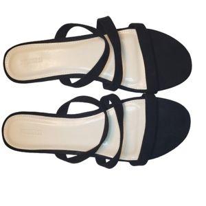 Forever 21 Black Slip On Strappy Sandals
